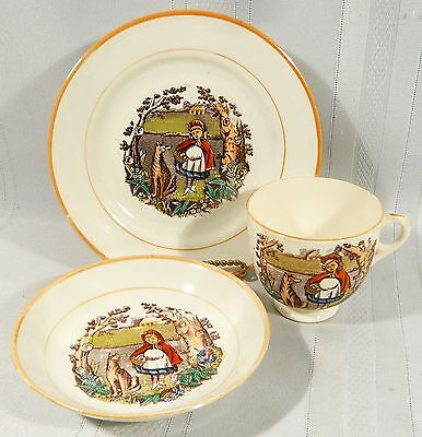 1876 Antique Trio LITTLE RED RIDING HOOD  Teacup Saucer Dewes & Copestake  WOLF