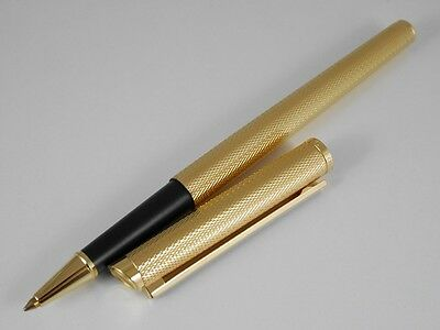 dunhill Gemline Gold Plated Barley Black Clip Rollerball Pen SWISS MADE (MINT)