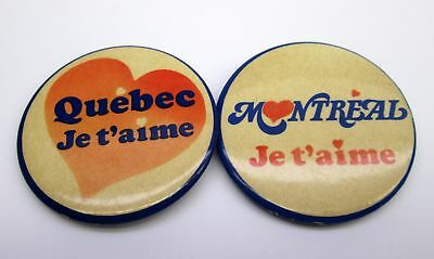 pair Vintage Quebec & Montreal JE T'AIME 1970s or 80s PIN BACK BUTTON pinback