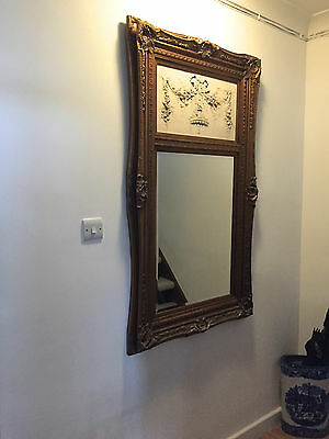 Antique style wall MIRROR with RELIEF INLAY CAMEO CARVING