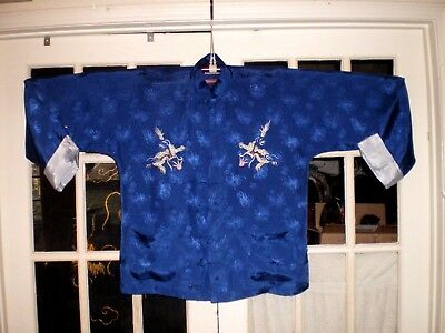 Nice Old Chinese MENS Blue Silk Blend Damask Jacket/Robe Embroidered w/Dragons
