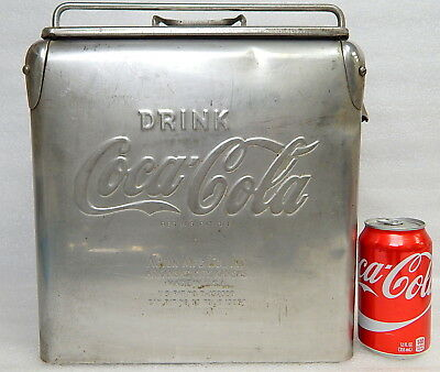 Rare Vintage Drink Coca Cola Coke Stainless Steel Small Picnic Cooler Acton Mfg