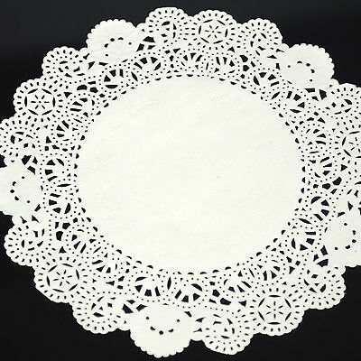 50pcs 5.5/6.5/7.5/8' Ivory White Lace Round Paper Cake Cupcake Doilies Placemat