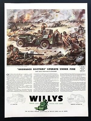 1943 Vintage Print Ad WILLYS James Sessions Art WWII Illustration WWII Combat