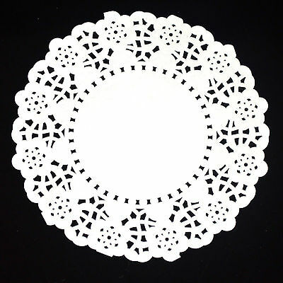 """50pcs 4.5"""" Ivory White Lace Round Paper Cake Cookie Doilies Placemat Craft"""