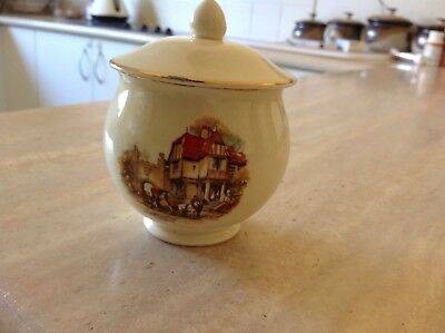 Vintage Bone China Sugar Bowl with Lid