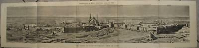 Cairo Egypt 1882 H. W. Brener Wall Large-Format Antique Woodblock City View