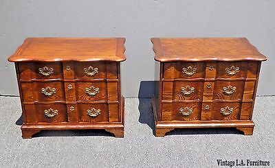 Pair Vtg Henredon French Country Carved Tiger Oak NIGHTSTANDS w Brass Hardware