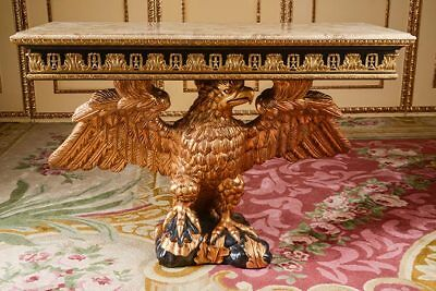 Magnificent Eagle Console Table with Bronze and Marble Hand-Carved After W. Kent