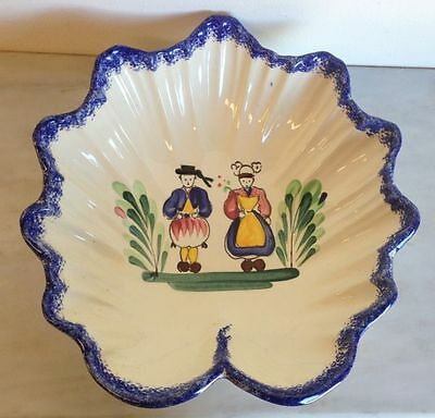 Vintage French Breton Faience Fluted Dish Bowl Hand Painted - a524