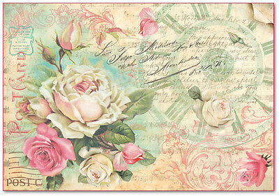 1 Blatt Decoupage Reispapier DFS309 postcard with rose and words  Stamperia
