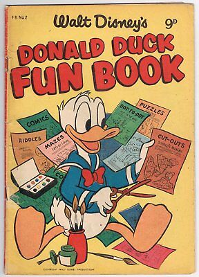 Australian Walt Disney's Donald Duck Fun Book Comic Fb No.2 - G/v.good - 1955