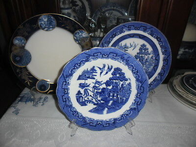 Blue Willow 3 Display Plates, Royal Doulton, Cauldon Ltd England