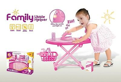 BEEFUN Pink Family Little Helper Ironing Playset with ironing board, iron,
