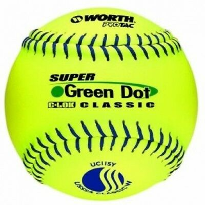 Worth 27.9cm USSSA Stamped Slowpitch UC11SY Optic Yellow Protac Cover Ball