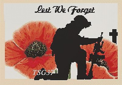 Cross Stitch Chart - Lest we forget - Remembrance Day soldier and poppy .TSG37