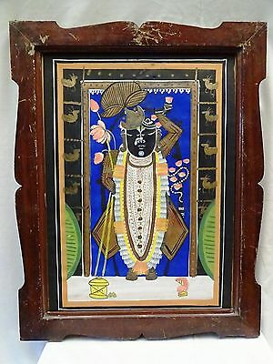 Old Antique Painting Hand Made Water Color Indian Hindu Lord Shreenathji Framed