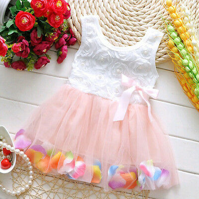 Pink Girls Baby Sleeveless Tutu Dress Flower Multicolor Petal Hem Dress 6-12M