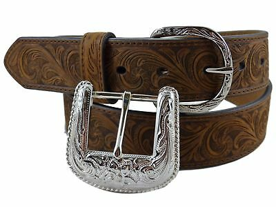 Nocona USA Western Belt blumenmuster Tooled Cowboy Cowgirl Brown