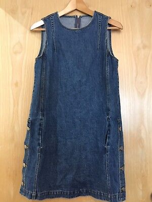 Vintage Blue Denim Pinafore Dress Size 10 12