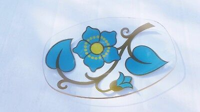 Retro Vintage 70's Chance Glass Oval Dish Turquoise and Yellow
