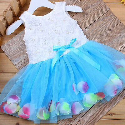 Kids Girls Baby Sleeveless Tutu Dress Flower Multicolor Petal Hem Dress 12-18M