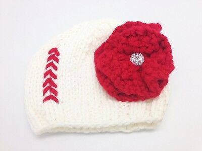 Baseball Knit Hat with Flower (One Size Fits All). Snazzy Sports Co.