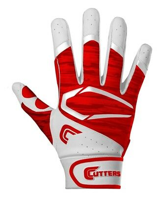 (SMALL  /ADULT, WHITE/ RED) - Cutters Gloves Power Control 2.0 Batting Gloves,