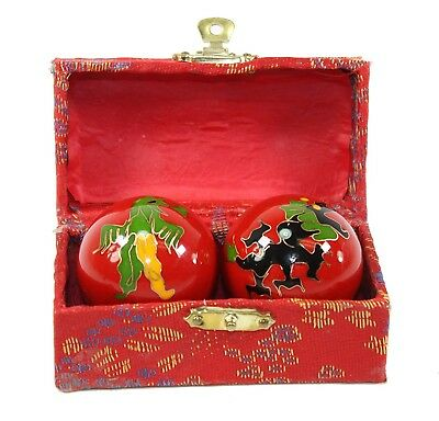 Set of 2 Red Phoenix Dragon Cloisonne Iron Ball Hand Stress Relief EXERCISE