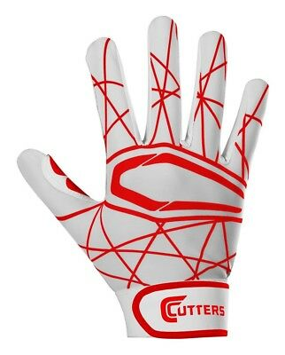 (LARGE / ADULT, White/Red) - Cutter B221 Lead Off 2.0 Batting Gloves, Pair