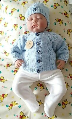 Newly Hand knitted baby Cardigan and hat set- outfit 0-3 month Pale blue