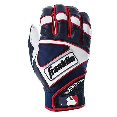 (Adult Large, Pearl/Navy/Red) - Franklin Sports MLB Powerstrap Batting Gloves