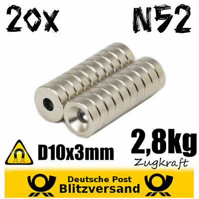 20x Magnet Disc D10x3mm with Countersink N52 - Fixing Magnet Magnetic Strong