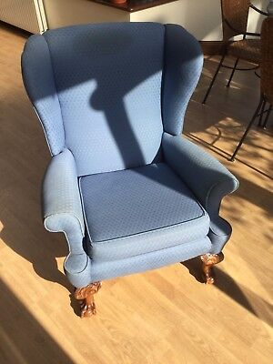 Small Victorian Wing Chair with ball and claw feet for re-upholstery project