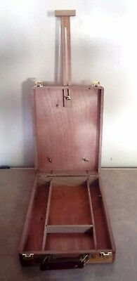 Arturo Elm Wooden Desk Easel And Box-With Brush Set In Wallet