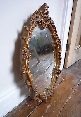 Beautiful ornate Vintage Antique Gold Oval Wall Mirror
