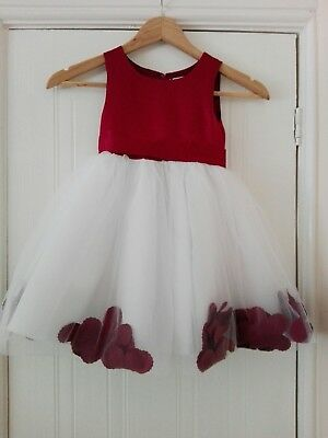 Beautiful girls occasions dress burgundy and white age 3