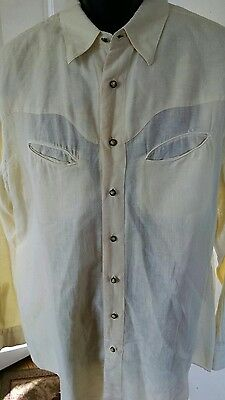 Miguel Ibars Western Shirt Men's Xl Linen Blend Long Sleeve Ivory White Solid