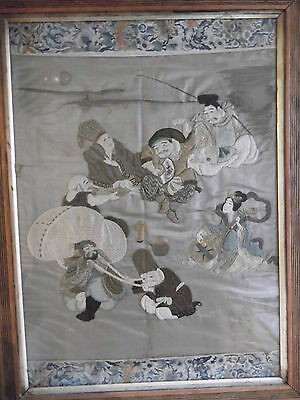 Original Large Antique Chinese Framed Tapestry Embroidery Silk Asian Needlework