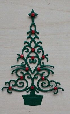 Christmas tree die cuts with red baubles. Pack of 10.