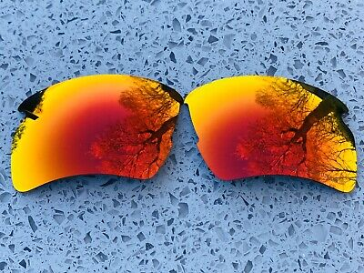 Engraved Polarized Fire Red Mirror Replacement Oakley Flak Jacket 2.0 Xl Lenses