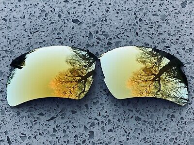 ENGRAVED POLARIZED 24k GOLD MIRRORED REPLACEMENT OAKLEY FLAK JACKET 2.0XL LENSES