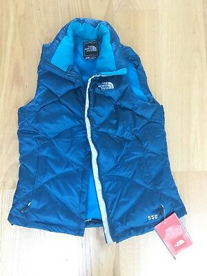 NWT Women's North Face Aconcagua Blue Goose Down Vest Size Small