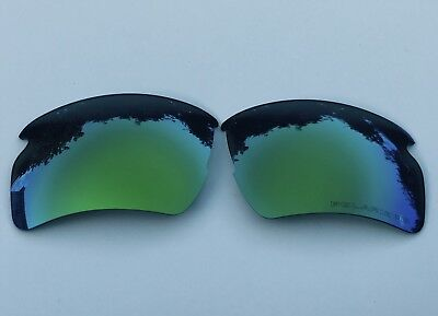 Engraved Polarized Green Mirrored Replacement Oakley Flak Jacket 2.0 Xl Lenses