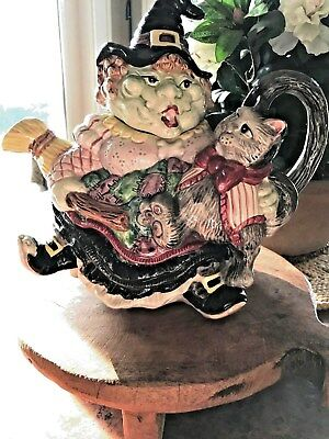 Fitz & Floyd 1992 Halloween Witch with Broom & Cat Teapot 37 oz