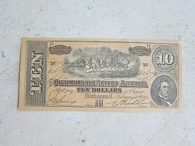 """1864"" Confederate States of America Currency Facsimile 10 Dollar IGC"