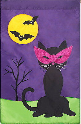 NEW LARGE EVERGREEN APPLIQUE HALLOWEEN BLACK CAT WITH MASK FLAG  29 x 43