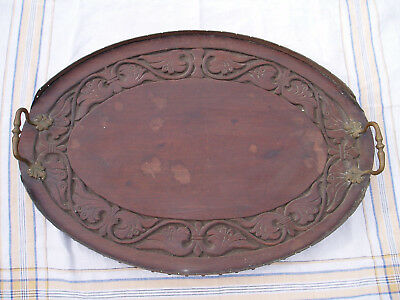 Lovely antique oval scalloped, Mahogany butlers or drinks tray 57cm x 39cm