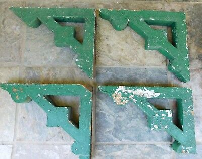 Set of 4 Ornate Wooden House Architectural Salvage Corbels Chippy Green Paint
