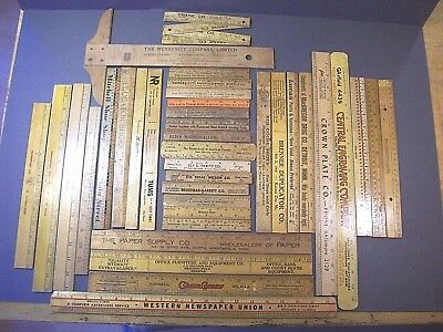 """LOT of 37 VINTAGE WOODEN RULERS 30 w/ ANTIQUE ADVERTISING 6,12,15,18""""+14""""T-SQ"""